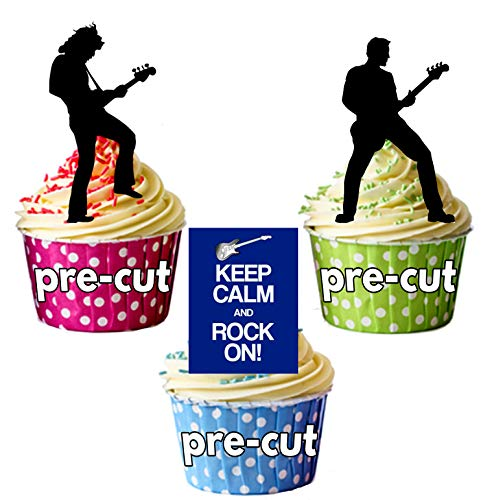 Keep Calm and Rock on/Rock Star Silhouetten - essbar Stand-up Cupcake Topper (Pack von 12)