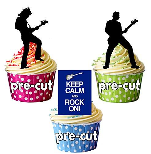 Keep Calm and Rock on/Rock Star Silhouetten-essbar Stand-up Cupcake Topper (Pack von 12) (Topper Rockstar Cake)