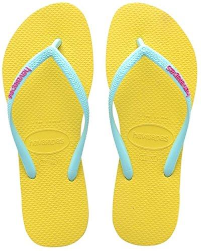 Havaianas Flip Flops Slim Logo Zehentrener für Frauen Gelb (revival Yellow 2827)