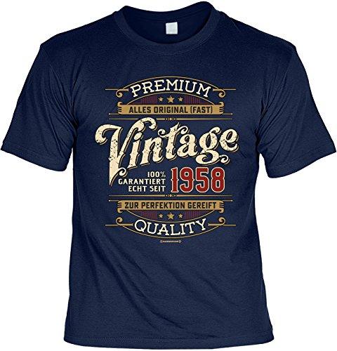 Geburtstags/Jahrgangs-Shirt INKL. Spaß-Urkunde: Premium Alles Original -Fast- Vintage Garantiert Echt Seit 1958 zur Perfektion Gereift Quality (Freche Vintage-t-shirt)