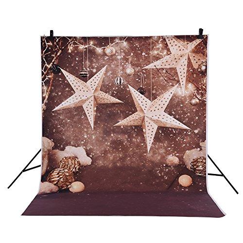 Andoer 1.5 * 2m Fondo Fotografía Telón de Fondo Patrón de Estrella Campana de Navidad Copo de Nieve para Niños Bebé Estudio de Foto