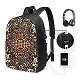 Zaino Scuola Donna Uomo Bambini Con Porta USB, Batik giavanese in grado di Zaino per Ragazzi e Ragazze Belle Daypack per Sport e Viaggi