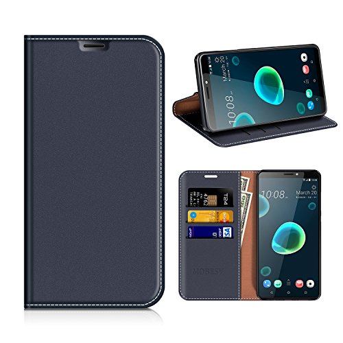 MOBESV HTC Desire 12+ Hülle Leder, HTC Desire 12 Plus Tasche Lederhülle/Wallet Case/Ledertasche Handyhülle/Schutzhülle mit Kartenfach für HTC Desire 12+ / 12 Plus - Dunkel Blau