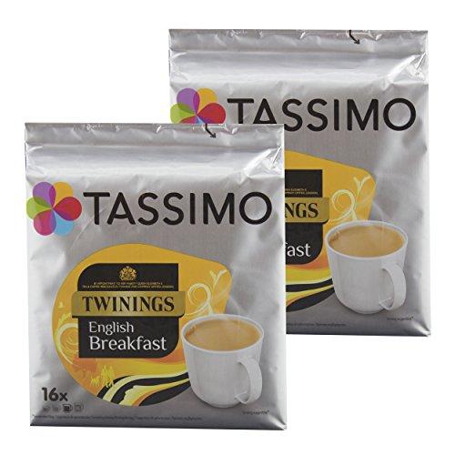 Tassimo Twinings English Breakfast Tee, Schwarzer Tee, Schwarztee, Kapsel, 2 x 16 T-Discs