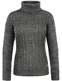 DESIRES Philipa Damen Strickpullover Zopfstrick mit Rollkragen aus hochwertiger 100% Baumwolle Meliert