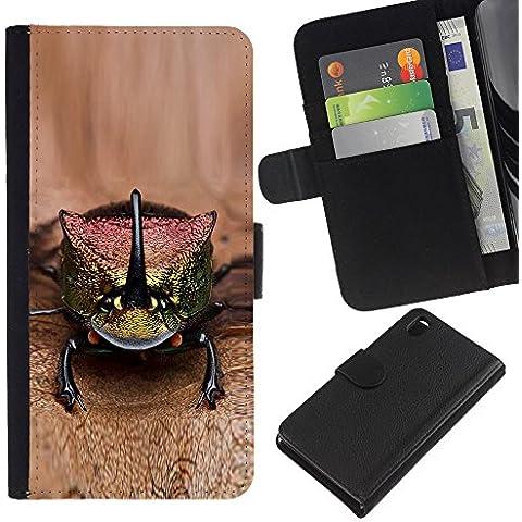 Leather Etui en cuir || Sony Xperia Z3 D6603 || gecko lagarto marrón animales exóticos @XPTECH