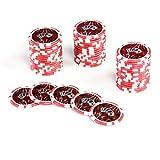 50 Poker-Chips Laser-Chips OCEAN-CHAMPION-CHIP Wert 5 - 12g Metallkern Poker Texas Hold`em Black Jack Roulette - Kanten abgerundet - rot