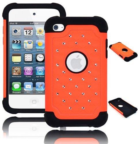 Bastex Heavy Duty Hybrid Case für Touch 4, 4. Generation, iPod-Schwarz Silikon/orange Spot Diamant Bling Hard Shell Ipod Touch 4 Hybrid