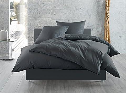 Mako-Satin Baumwollsatin Bettwäsche uni einfarbig zum Kombinieren (155 cm x 220 cm, Anthrazit)
