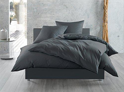 Mako-Satin Baumwollsatin Bettwäsche uni einfarbig zum Kombinieren (200 cm x 220 cm, Anthrazit)