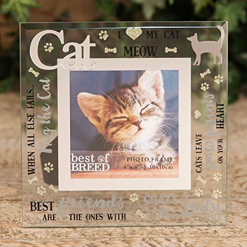 Widdop Juliana Bilderrahmen, quadratisch, Spiegelglas, 3D-Glitzerworte, Katze, freistehend, 10,2 x 10,2 cm, Andenken Geschenk - I Love Cat