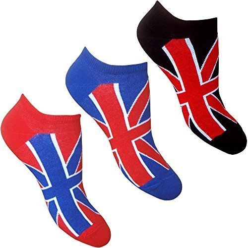 Damen & Jugend Union Jack Großbritannien Sommer Sneaker Socken (3 Paar Packung)