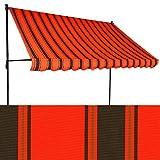 Jawoll Klemm-Markise 3 x 1,5 m orangerot-schwarz (Profilfarbe: Anthrazit) Balkonmarkise Spannmarkise Sonnenschutz Klemmmarkise