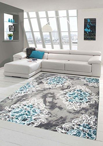 Alfombra moderna de diseño alfombra oriental con Glitzergarn alfombra de la sala con adornos y flores en gris turquesa crema Größe 160x230 cm