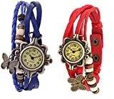 Bollywood Designer Vintage Antique Retro Style Weave Wrap Leather Strap Trendy Ladies Bracelet Watch With Butterfly Pendant Pack Of 2 (Blue-Red) best price on Amazon @ Rs. 175