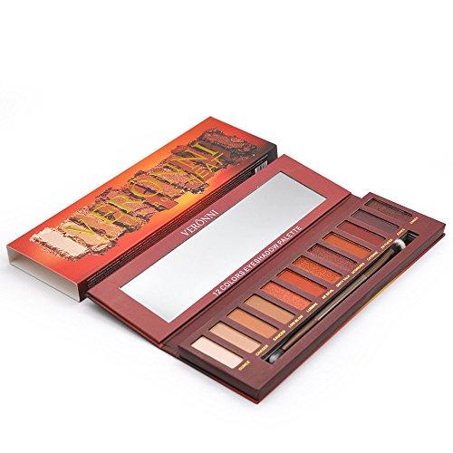 Charmant maquillage cosmétique pour les yeux, 12 couleurs Shimmer Matte Ombre à paupières Palette Ombre à Paupières Cosmétique Brush Set (Multicolore)