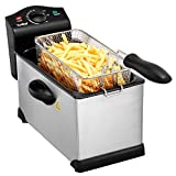 VonShef 3 Litre Stainless Steel Deep Fat Fryer with Viewing Window - Non-Stick