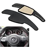 #6: HITSAN Carbon Fiber Paddle Shift Extenders Steel Ring Wheel Gear Shifters For Audi
