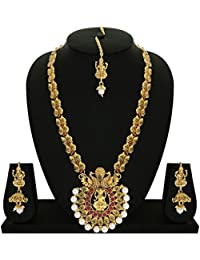 2ce68f1ace Matushri Art Red Brass and Copper Indina God Laxmi with Dancing Peacock Necklace  Set for Women