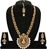 #5: Matushri Art Indina Traditional Temple Jewelry of God Laxmi with Dancing Peacock Necklace Set for Women and Girls