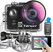 Yarber Action Cam, 8K 20MP Wi-Fi Impermeabile 40M Touch Screen EIS Comando Vocale con Telecomando Fotocamera S