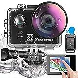 Yarber 8K 20MP Action Cam EIS WiFi 40M Impermeabile Touch Screen Fotocamera Subacquea Videocamera Ultra Grandangolare 170 ° Con Telecomando Vocale 2 Batterie Ricaricabili e Kit di Accessori