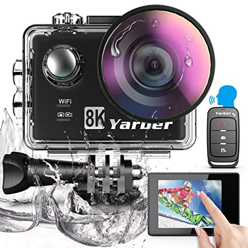 Yarber 8K 20MP Action Cam WiFi Touch Screen EIS Comando Vocale 40m Fotocamera Subacquea 8...