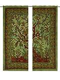 Grün Baum des Lebens Vogel Wand Aufhängern für Fenster Room Decor, Mandala Gardinen Einsätze Paar 82Länge, 2Stück indischen Hippie Vorhänge Bohemian Psychedelic ombre-mandala wall-hanging-tapestry Vorhang,