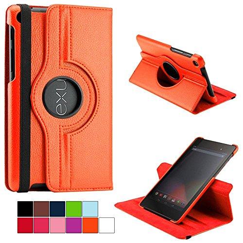 COOVY® Cover für Google ASUS Google Nexus 7 (2. Generation Model 2013) ROTATION 360° SMART HÜLLE TASCHE ETUI CASE SCHUTZ STÄNDER   Farbe orange