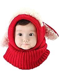 Gorro-bufanda de invierno infantil, de punto de lana, diseño de buzo con orejeras, unisex, cálido calentador de cuello, ideal como regalo de Navidad para niños de 6-36meses