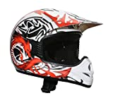 AMX - Casco Motocross, Bianco/Nero/Rosso Opaco, S