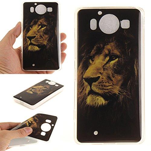 Microsoft Lumia 950 hülle,MCHSHOP Ultra Slim Skin Gel TPU hülle weiche Silicone Silikon Schutzhülle Case für Microsoft Nokia Lumia 950 - 1 Kostenlose Stylus (Löwenzahn verliebt sich) Brauner Löwenkopf