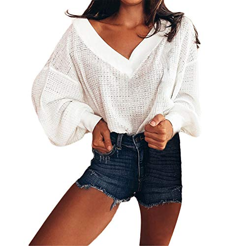 TianWlio Langarm Bluse Damen Frauen Mode Lässige Mode Solide Pullover Gestrickte Lange Laterne...