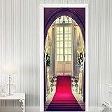 Kllomm 3D Stereo Bogen Schritt Teppich Tür Aufkleber Tapete Wohnzimmer Restaurant 3D Wand Tür Aufkleber Home Decor-95x215cm