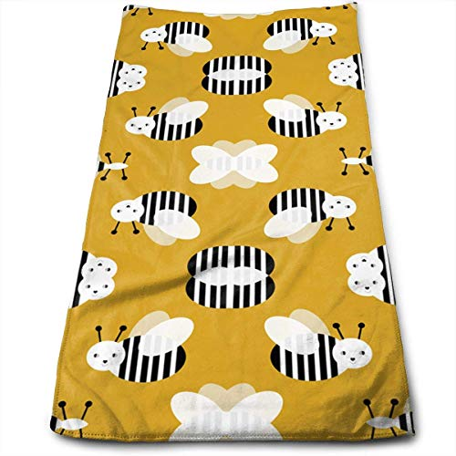 ERCGY Bumble Bee Garden Summer Cute Stripes Kitchen Towels - Dish Cloth - Machine Washable Cotton Kitchen Dishcloths, Dish Towel & Tea Towels for Drying,Cleaning,Cooking,Baking (12