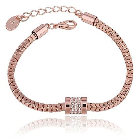 Rose Plaqué Or Bracelet, Femmes Hommes Charme Bracelets Géométrique Longueur 18CM+5CM Epinki