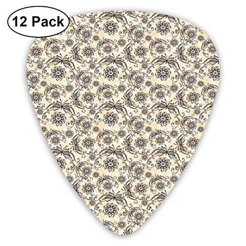 Guitar Picks - Abstract Art Colorful Designs,Nature Composition With Ornamental Lines Swirls Circles Abstract Flora And Fauna,Unique Guitar Gift,For Bass Electric & Acoustic Guitars-12 Pack Flora Swirl