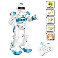 WISHTIME RC Remote Control Intelligent Robot Intelligent Programming Gesture Sensing Robot , Dancing Singing Walking RC Toy With Rechargeable Battery for Children Kids Entertainment