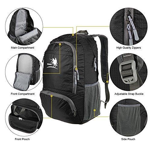 Docooler 30L Reise Rucksack Sack, Ultra light/Packable Pack Style Schwarz