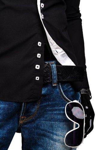 BOLF Herrenhemd Langarm Hemd Figurbetont Freizeit Klassisch Casual Business Bügelleicht Herren Men's Hochzeit Slim fit Modern Super Qualität 1721 Schwarz
