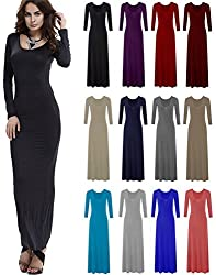 Comfiestyle Women's Ladies Long Sleeves Flared Plain Long Stretchy Maxi Dress Plus Size. Uk 8-26