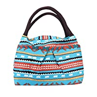 Koly Stripe Lunch Box Tote Zipper Bag Bento Lunch Pouch (F)