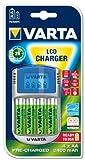 Varta LCD Charger Ladegerät (geeignet für 4 AA/AAA Akkus, inkl. 4 AA Akkus mit 2400 mAh und 12V Adapter, USB Kabel)