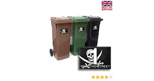 Pirate Set of A5 4 Pack 4 x Personalised Wheelie Bin Sticker//Vinyl Labels with House Number /& Street Name Jolly Roger Flag