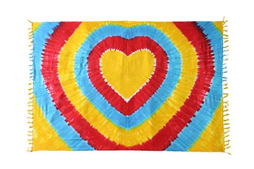Ca 200 Modelle Großer Sarong Lunghi Dhoti Handtuch Strandtuch Schal Handarbeit Blickdicht ca 170cm x 110cm Viele tolle Farben zur Auswahl Made by El Vertriebs GmbH Herz Bunt