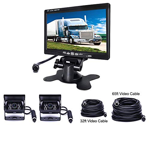 Podofo Caméra de Recul véhicule Système de Stationnement pour Camping-car/RV/BUS/Remorque/camion 2 x Caméras Arrière Etanche 18 IR LED Vision de Nuit + 7 Pouces TFT Moniteur (10 m et 20m Câble Vidéo)