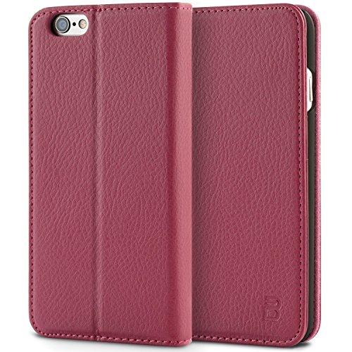 iPhone 6 Hülle ,iPhone 6S Hülle, BEZ® Handyhülle iPhone 6 / iPhone 6S Schutzhülle aus Kunstleder Flip Case Taschenhülle mit Kreditkartenhaltern, Standfunktion, Geldbeutel, Magnetverschluss - Rosa