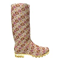 Womens Ladies Girls Cream Flower Pattern Wellies, Snow Winter Rain Wellington Welly Boots - P355