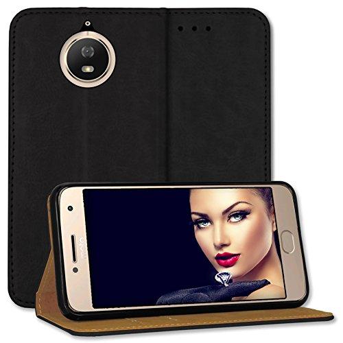mtb more energy® Leder Bookstyle Case für Motorola Moto G5S (XT1794, 5.2'') | schwarz | Echtleder | Schutz-Tasche Wallet Folio Cover Hülle