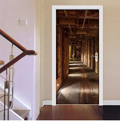 3D Holz Baum Expansion Raum Fotowand Papier Tür Aufkleber Für Wohnzimmer Schlafzimmer Pvc Selbstklebende Tür Wandtattoo 85X200 Cm